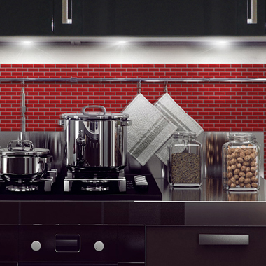 Fdeco agencement mosaique rouge cuisine - Credence pour cuisine rouge ...