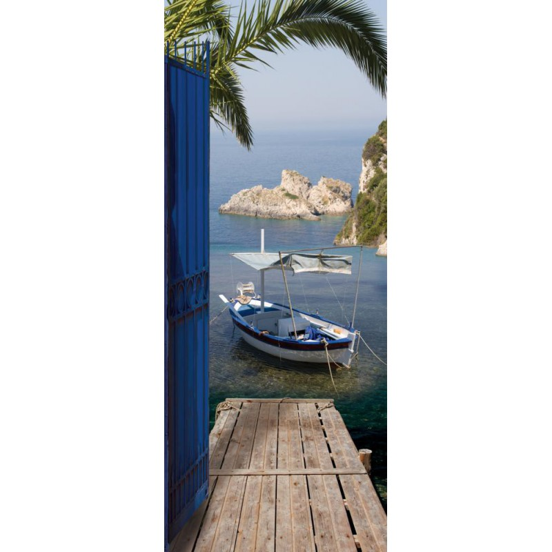 fdeco agencement sticker trompe l oeil de portes vue sur mer ondoor chez plage. Black Bedroom Furniture Sets. Home Design Ideas