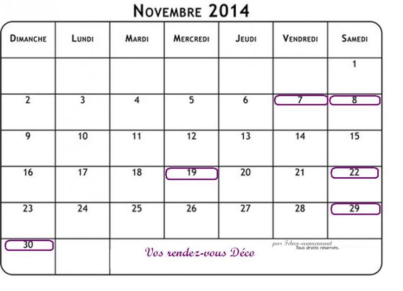 Votre agenda Déco de Novembre