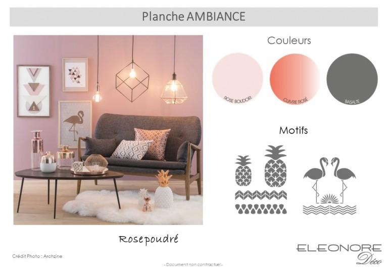 Rose boudoir, cuivre rosé, gris foncé une allure très comtemporaine...